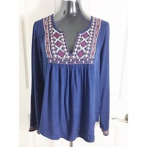 Lucky Brand Blue Boho Embroidered Blouse